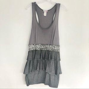 Gray Sleeveless Banded Ruffled Mini Dress Size L